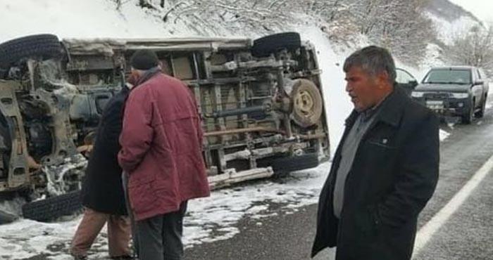 Adaklı'da maddi hasarlı trafik kazası