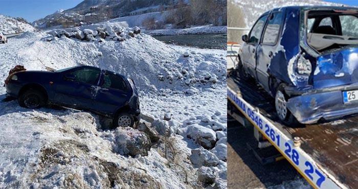 Buz pistine dönen Karlıova yolunda kazalar
