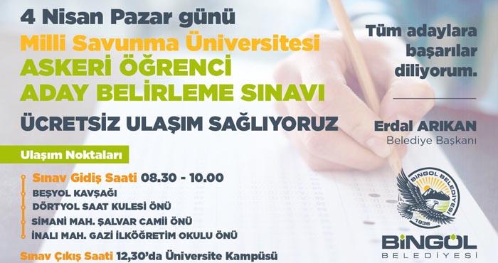 Bingöl Belediyesi sınava girecek öğrencileri ücretsiz taşıyacak