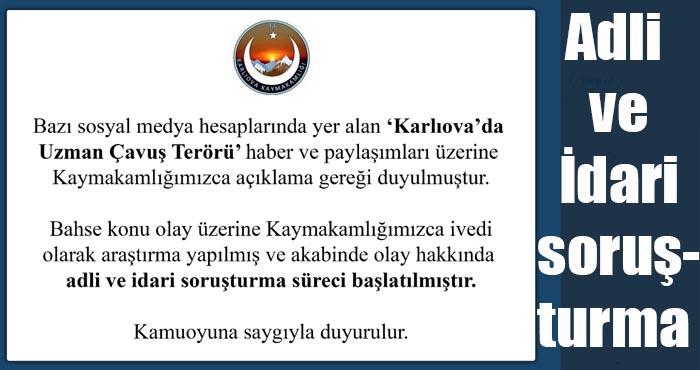 Karlıova Kaymakamlığı soruşturma başlattı