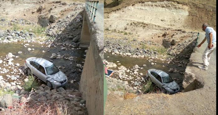Adaklı'da otomobil köprüden uçtu: 1 yaralı