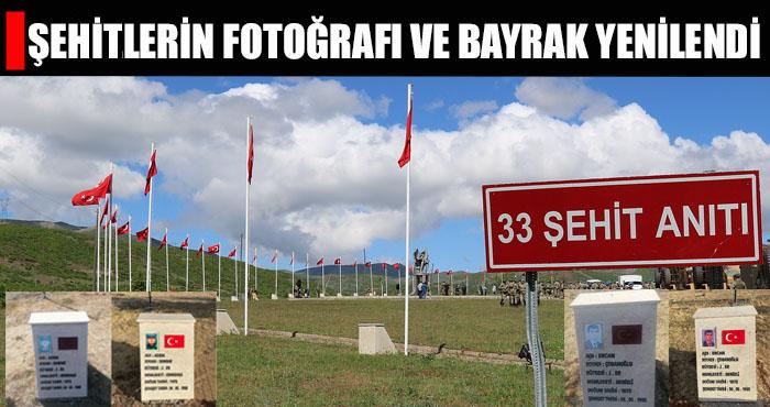 33 Şehit Anıtı'ndaki fotoğraf ve bayraklar değiştirildi