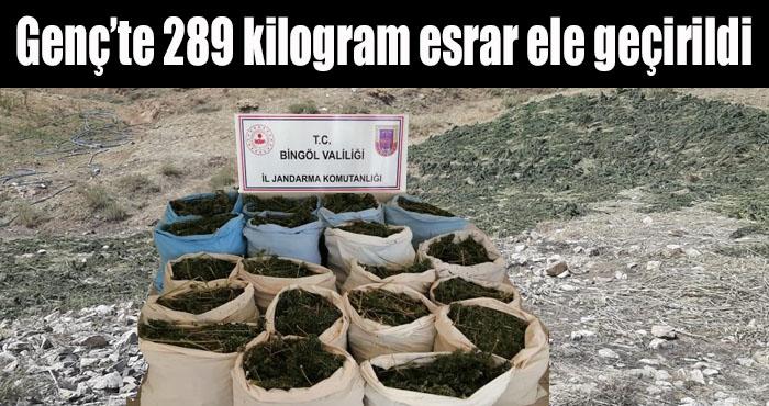 Genç ilçesi kırsalında 289 kilogram esrar ele geçirildi