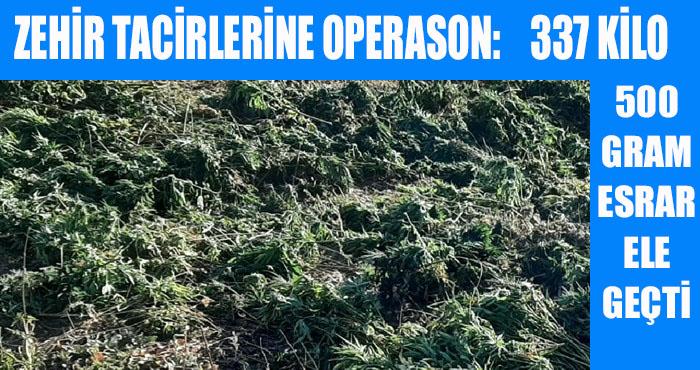 Jandarmadan zehir tacirlerine operasyon: 337 kilogram esrar ele geçirildi