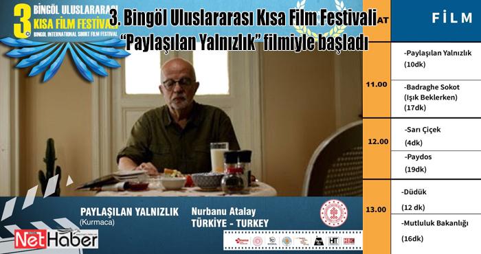 Bingöl Uluslararası Kısa Film Festivali başladı