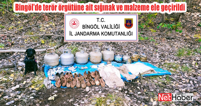 Bingöl'de terör örgütüne ait sığınak e malzeme ele geçirildi